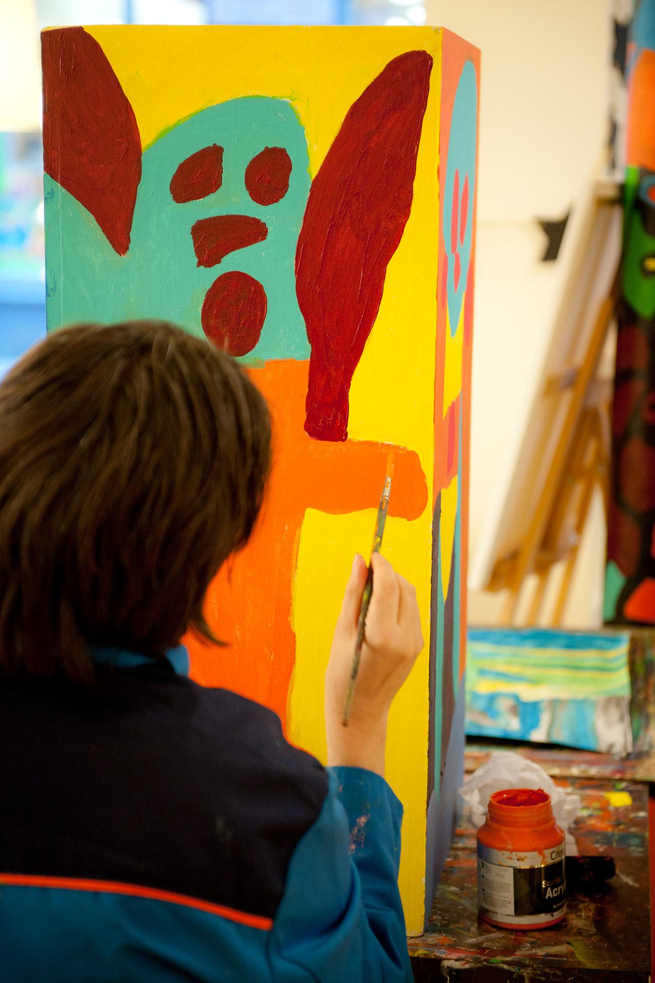 Schilderen Kunstsjop, S&L Zorg, Bergen op Zoom, verhuist